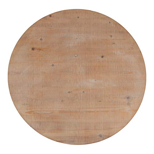 Kate And Laurel Bellmead Wood Round Pedestal Dining Table Natural And White 0 3