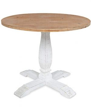 Kate And Laurel Bellmead Wood Round Pedestal Dining Table Natural And White 0 300x360