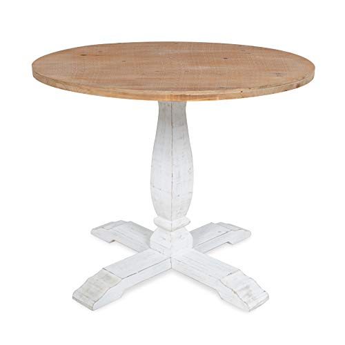 Kate And Laurel Bellmead Wood Round Pedestal Dining Table Natural And White 0