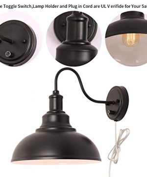 Kingmi Wall Lamp Dimmable Wall Sconce Black Industrial Vintage Farmhouse Wall Sconce Lighting Gooseneck Wall Light Fixture With Plug In Cord And On Off Toggle Switch For Bedroom Nightstand 0 1 300x360