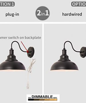 Kingmi Wall Lamp Dimmable Wall Sconce Black Industrial Vintage Farmhouse Wall Sconce Lighting Gooseneck Wall Light Fixture With Plug In Cord And On Off Toggle Switch For Bedroom Nightstand 0 2 300x360
