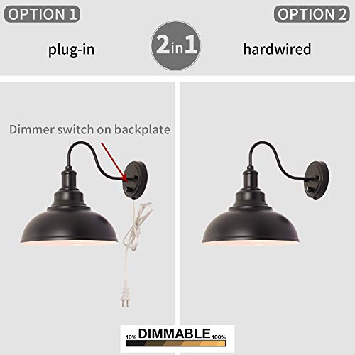 Kingmi Wall Lamp Dimmable Wall Sconce Black Industrial Vintage Farmhouse Wall Sconce Lighting Gooseneck Wall Light Fixture With Plug In Cord And On Off Toggle Switch For Bedroom Nightstand 0 2