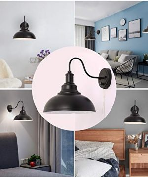 Kingmi Wall Lamp Dimmable Wall Sconce Black Industrial Vintage Farmhouse Wall Sconce Lighting Gooseneck Wall Light Fixture With Plug In Cord And On Off Toggle Switch For Bedroom Nightstand 0 3 300x360