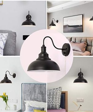 Kingmi Wall Lamp Dimmable Wall Sconce Black Industrial Vintage Farmhouse Wall Sconce Lighting Gooseneck Wall Light Fixture With Plug In Cord And On Off Toggle Switch For Bedroom Nightstand 0 4 300x360