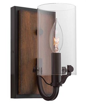 Kira Home Aspen 9 Rustic Farmhouse Wood Wall Sconce Cylinder Glass Shade Oil Rubbed Bronze 0 300x360