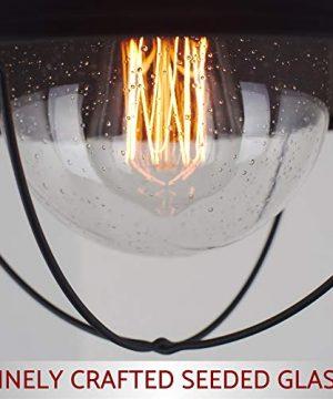 Kira Home Bayside 11 Nautical Farmhouse Flush Mount Ceiling Light Seeded Glass Shade Matte Black Finish 0 1 300x360