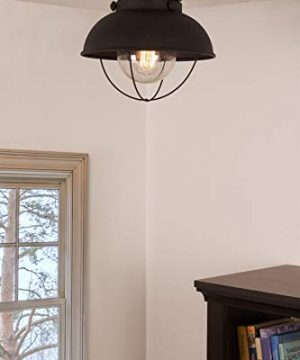 Kira Home Bayside 11 Nautical Farmhouse Flush Mount Ceiling Light Seeded Glass Shade Matte Black Finish 0 300x360