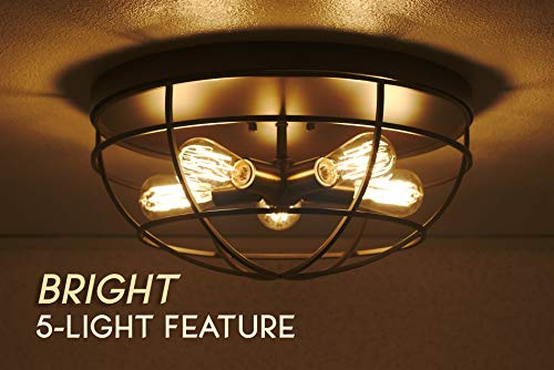 Kira Home Gage 18 Industrial Farmhouse 5 Light Cage Flush Mount Ceiling Light Antique Brass Sockets Oil Rubbed Bronze Finish 0 3