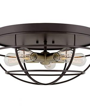 Kira Home Gage 18 Industrial Farmhouse 5 Light Cage Flush Mount Ceiling Light Antique Brass Sockets Oil Rubbed Bronze Finish 0 300x360