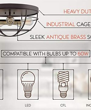 Kira Home Gage 18 Industrial Farmhouse 5 Light Cage Flush Mount Ceiling Light Antique Brass Sockets Oil Rubbed Bronze Finish 0 4 300x360