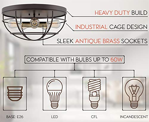 Kira Home Gage 18 Industrial Farmhouse 5 Light Cage Flush Mount Ceiling Light Antique Brass Sockets Oil Rubbed Bronze Finish 0 4