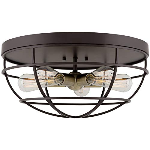 Kira Home Gage 18 Industrial Farmhouse 5 Light Cage Flush Mount Ceiling Light Antique Brass Sockets Oil Rubbed Bronze Finish 0