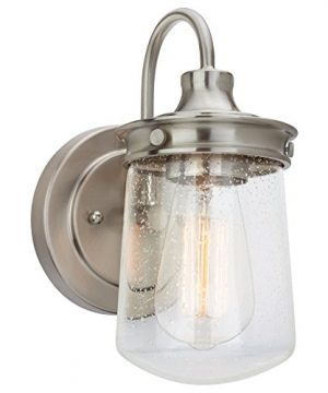 Kira Home Mason 10 Industrial Wall Sconce Seeded Glass Shade Brushed Nickel Finish 0 300x360