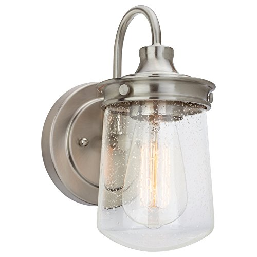 Kira Home Mason 10 Industrial Wall Sconce Seeded Glass Shade Brushed Nickel Finish 0