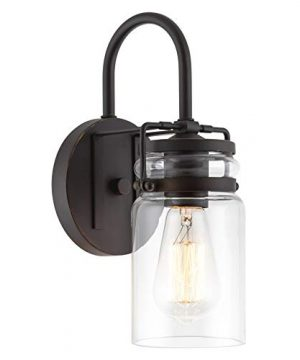 Kira Home Wyer 115 Farmhouse Industrial Wall Sconce Clear Glass Jar Shade Dimmable Bronze Finish 0 300x360
