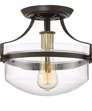 Kira Home Zurich 12 Rustic Semi Flush Mount Ceiling Light WGlass Shade Antique Brass Accents LED Compatible Oil Rubbed Bronze Finish 0 300x360