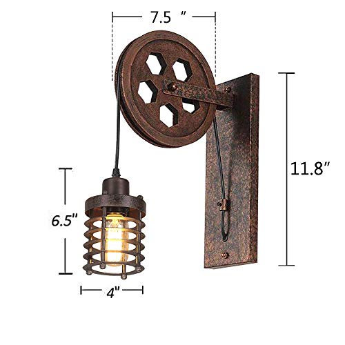 Kiven Nautical Lights Industrial Pulley Wall Sconce Steampunk Wall Light Rustic Lighting 0 0