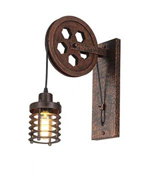 Kiven Nautical Lights Industrial Pulley Wall Sconce Steampunk Wall Light Rustic Lighting 0 300x360
