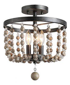 LALUZ 3 Light Beaded Semi Flush Mount Ceiling Light Natural Wood Beads Painted Finish 12 D X 136 H 0 300x360