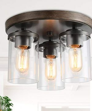 LALUZ 3 Lights Vintage Flush Mount Ceiling Light In Faux Wood And Rusty Metal Finish With Cylindrical Clear Glass Shades 118 Farmhouse Close To Ceiling Lighting For Living Room 0 300x360