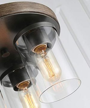 LALUZ 3 Lights Vintage Flush Mount Ceiling Light In Faux Wood And Rusty Metal Finish With Cylindrical Clear Glass Shades 118 Farmhouse Close To Ceiling Lighting For Living Room 0 5 300x360