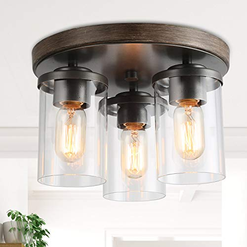 LALUZ 3 Lights Vintage Flush Mount Ceiling Light In Faux Wood And Rusty Metal Finish With Cylindrical Clear Glass Shades 118 Farmhouse Close To Ceiling Lighting For Living Room 0
