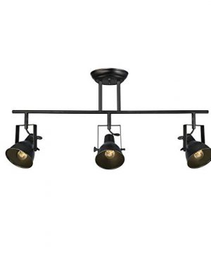LALUZ A03159 Black Track Lighting Fixture 28 Inches Industrial Ceiling Spotlight 3 Heads 0 300x360