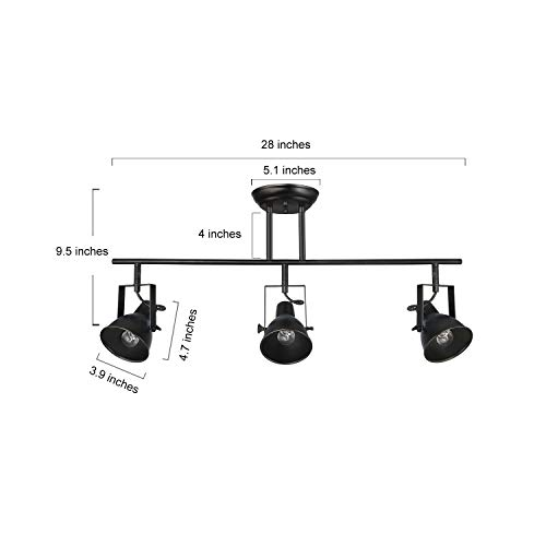 LALUZ A03159 Black Track Lighting Fixture 28 Inches Industrial Ceiling Spotlight 3 Heads 0 4