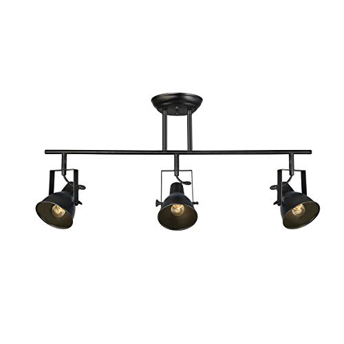 LALUZ A03159 Black Track Lighting Fixture 28 Inches Industrial Ceiling Spotlight 3 Heads 0