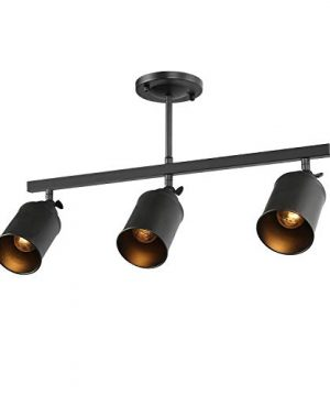 LALUZ Industrial Complete Track Lighting Kits With Straight Bar Metal Shade Matte Black 3 Adjustable Heads 225 Inches 0 300x360
