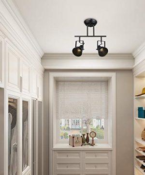 LALUZ Semi Flush Mount Adjustable Track Fixture 2 Light Modern Ceiling Spotlight 2 Head 0 1 300x360