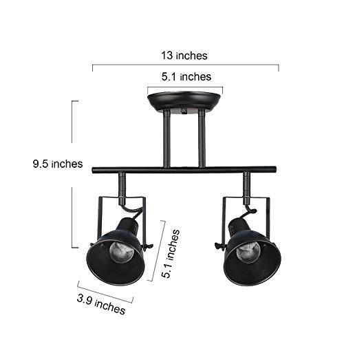 LALUZ Semi Flush Mount Adjustable Track Fixture 2 Light Modern Ceiling Spotlight 2 Head 0 3