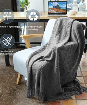 LANGRIA Throw Blanket Soft Decorative Knitted Blanket With Tassels Attractive Wavy Pattern Warm And Lightweight For Sofa Coach Bed At Home And Outdoor Machine Washable Eco Friendly 50x60 Inch Gray 0 0 300x360