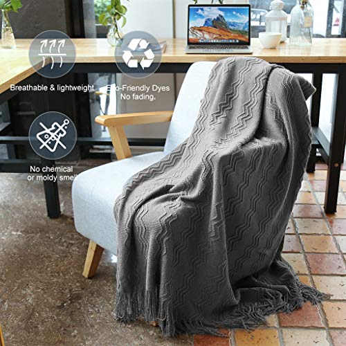 LANGRIA Throw Blanket Soft Decorative Knitted Blanket With Tassels Attractive Wavy Pattern Warm And Lightweight For Sofa Coach Bed At Home And Outdoor Machine Washable Eco Friendly 50x60 Inch Gray 0 0