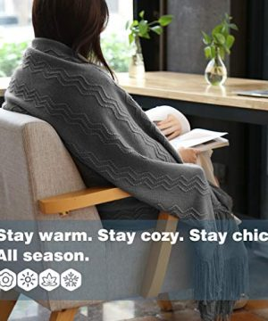 LANGRIA Throw Blanket Soft Decorative Knitted Blanket With Tassels Attractive Wavy Pattern Warm And Lightweight For Sofa Coach Bed At Home And Outdoor Machine Washable Eco Friendly 50x60 Inch Gray 0 1 300x360