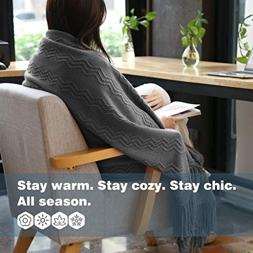 LANGRIA Throw Blanket Soft Decorative Knitted Blanket With Tassels Attractive Wavy Pattern Warm And Lightweight For Sofa Coach Bed At Home And Outdoor Machine Washable Eco Friendly 50x60 Inch Gray 0 1