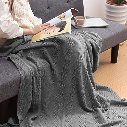LANGRIA Throw Blanket Soft Decorative Knitted Blanket With Tassels Attractive Wavy Pattern Warm And Lightweight For Sofa Coach Bed At Home And Outdoor Machine Washable Eco Friendly 50x60 Inch Gray 0 2
