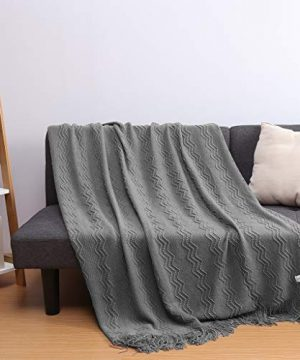 LANGRIA Throw Blanket Soft Decorative Knitted Blanket With Tassels Attractive Wavy Pattern Warm And Lightweight For Sofa Coach Bed At Home And Outdoor Machine Washable Eco Friendly 50x60 Inch Gray 0 3 300x360