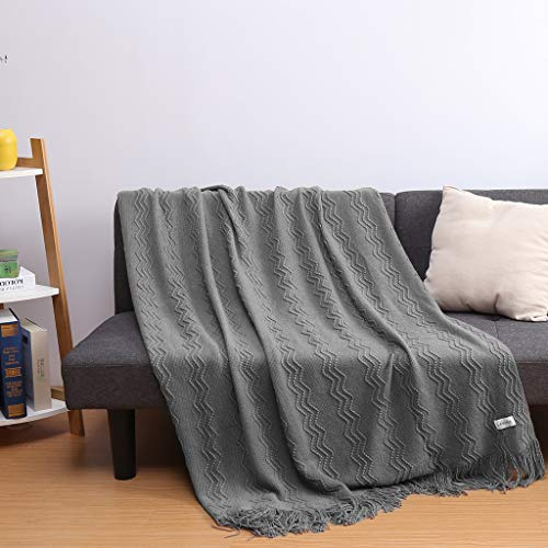 LANGRIA Throw Blanket Soft Decorative Knitted Blanket With Tassels Attractive Wavy Pattern Warm And Lightweight For Sofa Coach Bed At Home And Outdoor Machine Washable Eco Friendly 50x60 Inch Gray 0 3