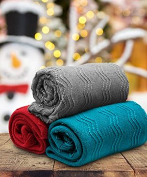 LANGRIA Throw Blanket Soft Decorative Knitted Blanket With Tassels Attractive Wavy Pattern Warm And Lightweight For Sofa Coach Bed At Home And Outdoor Machine Washable Eco Friendly 50x60 Inch Gray 0 5 300x360