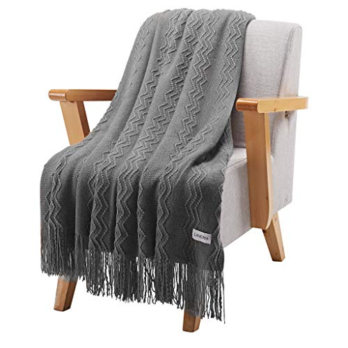 LANGRIA Throw Blanket Soft Decorative Knitted Blanket With Tassels Attractive Wavy Pattern Warm And Lightweight For Sofa Coach Bed At Home And Outdoor Machine Washable Eco Friendly 50x60 Inch Gray 0