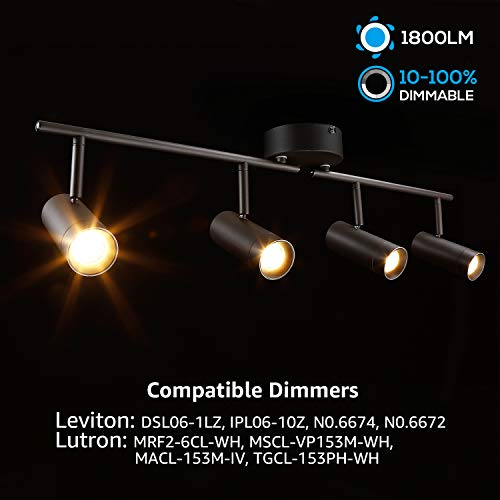 LEONLITE 28W LED Dimmable Track Light ETL Listed 4 In 1 Ceiling Spot Lighting 1800lm Flexibly Rotatable Light Head For Accent Lighting Decorative Lighting 5 Years Warranty 0 0