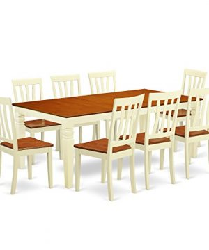 LGAN9 BMK W 9 Pc Dinette Set With A Dining Table And 8 Kitchen Chairs In Buttermilk And Cherry 0 300x360