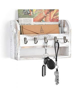 LIANTRAL Mail Sorter Wall Mount Mail Key Holder Organizer With Storage Shelf And Key Hooks 0 300x360