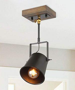 LNC Adjustable 1 Head Track Lighting Fixture Farmhouse Wood Semi Flush Mount Ceiling Spotlight Black Painted Finish 0 300x360