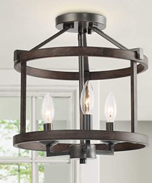 LNC Farmhouse Semi Flush Mount Ceiling Light Rust Faux Wood Finish Pendant Lighting Fixture3 Lights Drum Chandelier For Foyer Dining Room Entryway Stairway Kitchen Dining Room 0 300x360