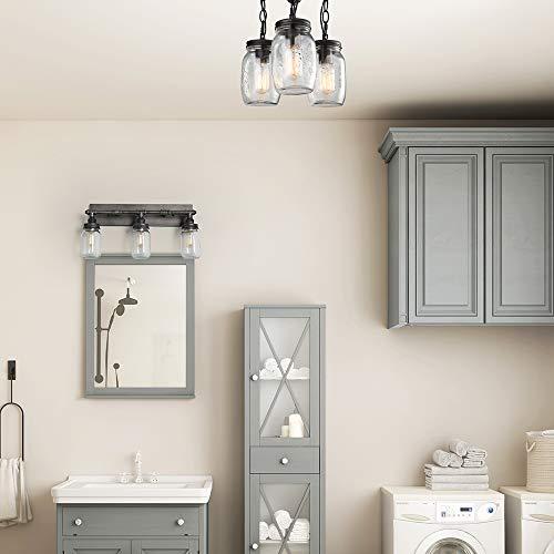 LNC Flush Mount Ceiling Light FixtureFarmhouse Mason Jar Glass Pendant For Kitchen Island Bedroom Living Room A02981 Brown 0 1