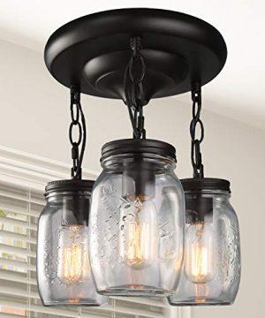 LNC Flush Mount Ceiling Light FixtureFarmhouse Mason Jar Glass Pendant For Kitchen Island Bedroom Living Room A02981 Brown 0 300x360