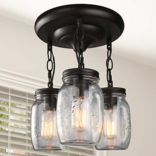 LNC Flush Mount Ceiling Light FixtureFarmhouse Mason Jar Glass Pendant For Kitchen Island Bedroom Living Room A02981 Brown 0