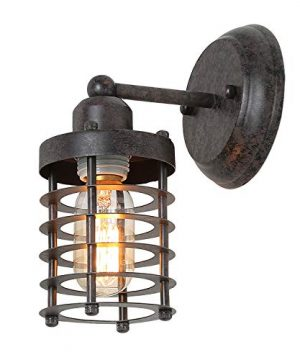 LNC Wall Sconce Farmhouse Barn Warehouse Mini Cage Vanity Light Indoor Wall Lamp With Brown Painting Rust A03481 0 300x360